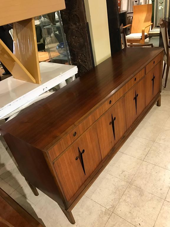 Decorative Midcentury Edmond J. Spence Stilted Walnut Credenza/Sideboard 2