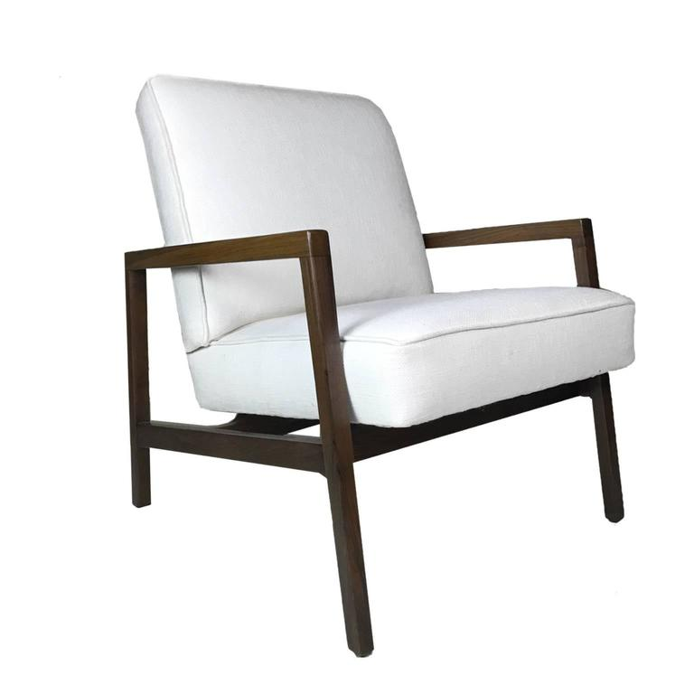 Mid-Century Modern Lewis Butler for Knoll Freshly Restored Framed Lounge Chair w White Upholstery For Sale