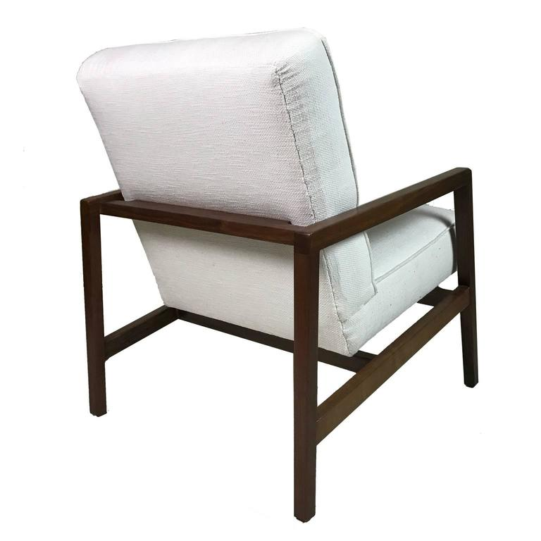 American Lewis Butler for Knoll Freshly Restored Framed Lounge Chair w White Upholstery For Sale