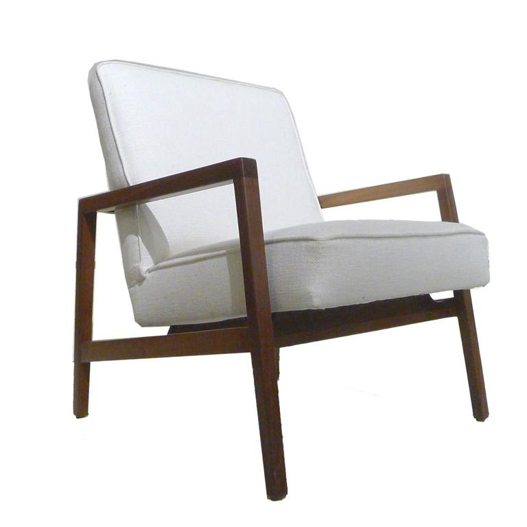 Fabric Lewis Butler for Knoll Freshly Restored Framed Lounge Chair w White Upholstery For Sale