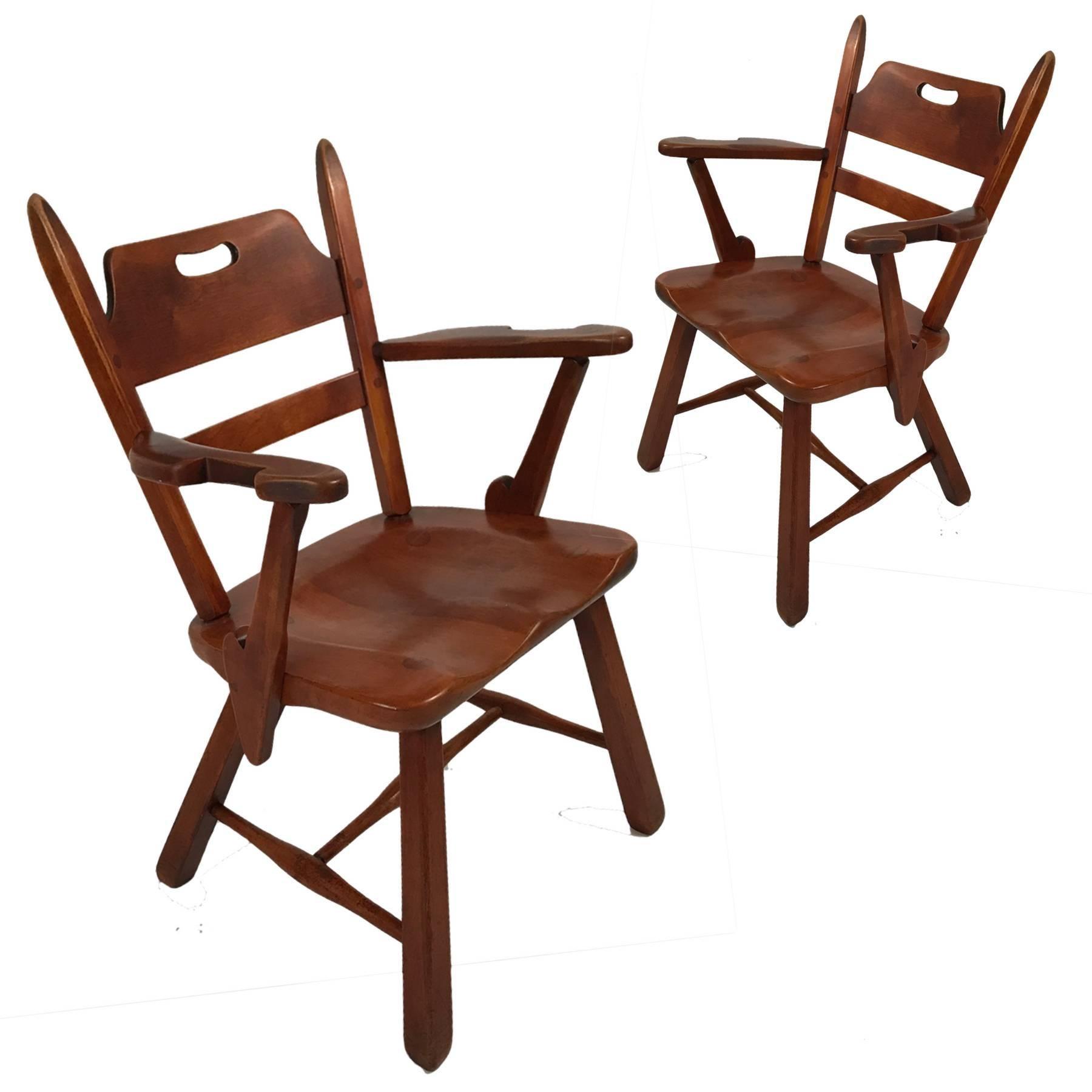 Pair Of Cushman Vermont Hard Rock Maple Americana Armchairs By Herman  DeVries At 1stdibs
