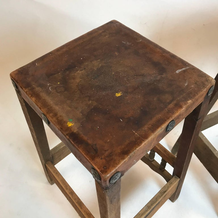 Early American Rustic Folk Art Leather And Wood With Hand