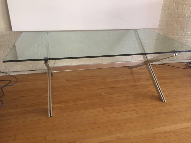 Mid-Century Modern  Rare Large Aluminum & Glass Floating X-base Table by John Vesey For Sale