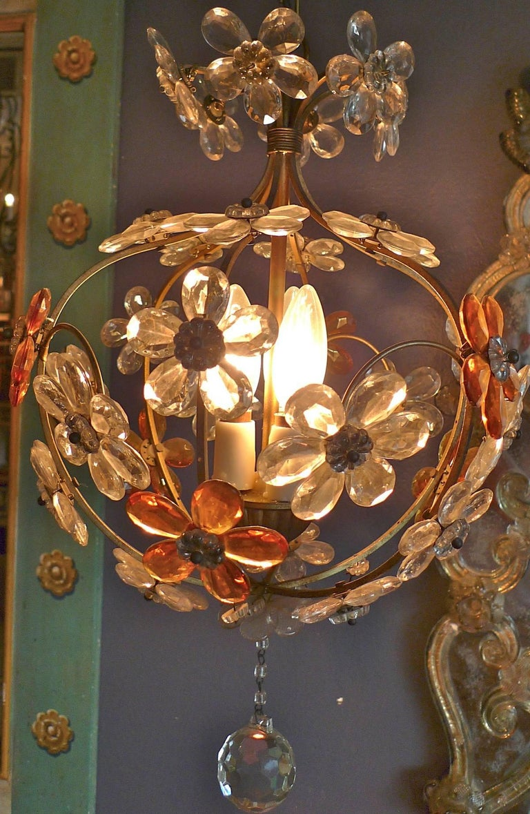 Italian 1940s chandelier three cluster light with amber and clear polished italian 1940s chandelier three cluster light with amber and clear glass flowers for sale aloadofball Image collections