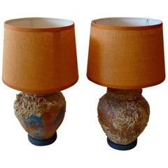 Two French 19th Century Provence Pots Wired for Side Lamps