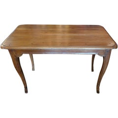 French 19th Century Stained Walnut Side Table with Two Small End Drawers