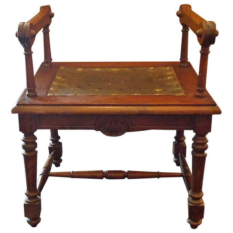 French 19th Century Carved and Stained Walnut Bench with Zinc Seat and Two Arms