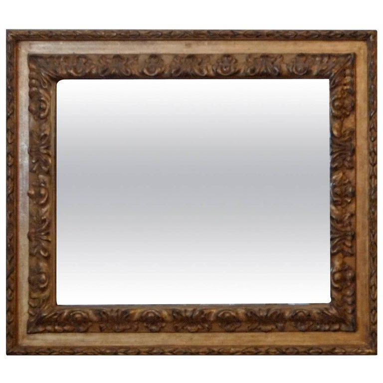 French 19th Century Hand-Carved Gold Painted Mirror Frame For Sale ...