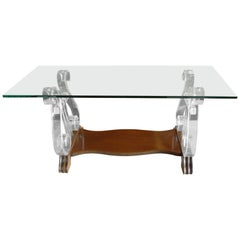 American 1970s Glass Top Coffee Table with Lucite Supports, Walnut Feet & Shelf