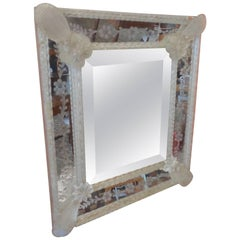 Venetian 19th Century Mirror with Flowers & Leaves in All Corners & Etched Glass