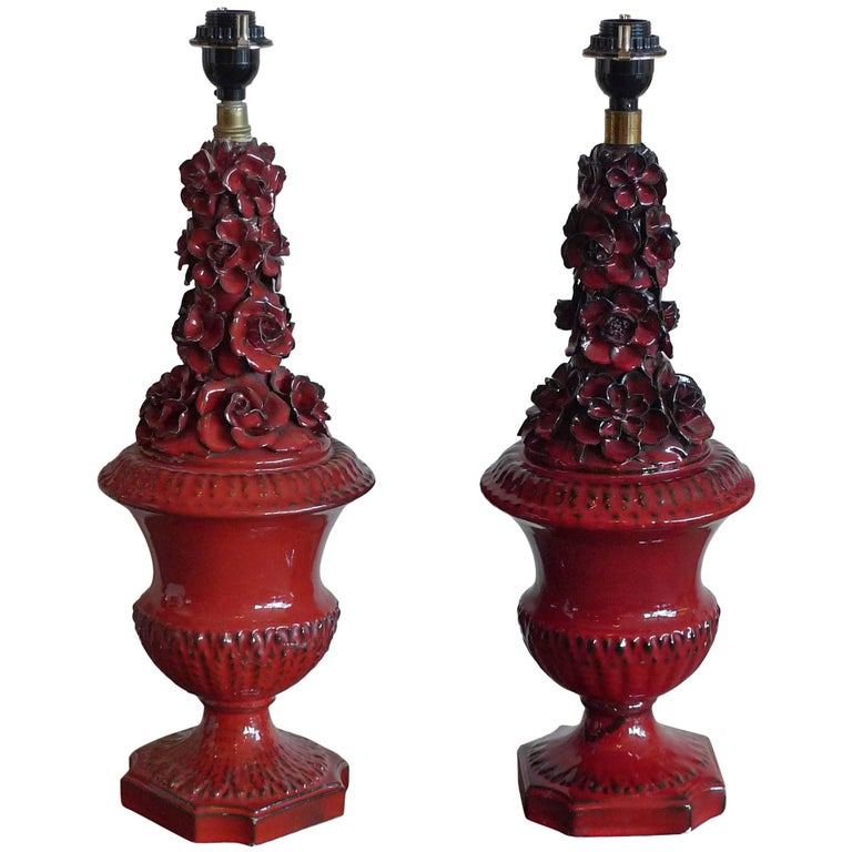 Two Spanish 1960s Red Glazed Mansies 'Valencia' Ceramic Table Lamp For Sale
