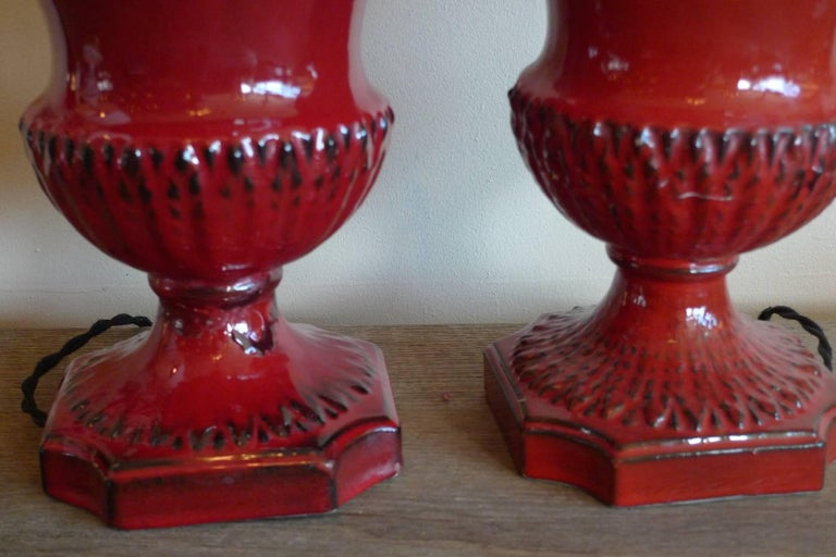 Two Spanish 1960s Red Glazed Mansies 'Valencia' Ceramic Table Lamp For Sale 1