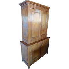 French XIX Deux Corp Linen Cupboard with 4 Doors, 4 Shelves and 1 Centre Drawer