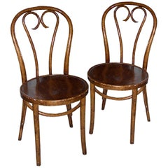 Two Austrian 19th Century Stained Beech Bentwood Side Chairs.