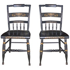 Two French 19th Century Side Chairs Painted Gold and Black.