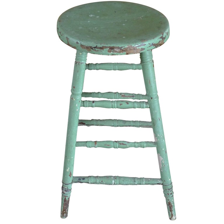 French 19th Century Green Painted Pinewood Counter Stool