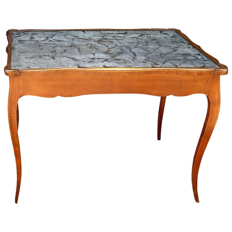 French 19th Century Faux Painted Game Table with Two End Drawers