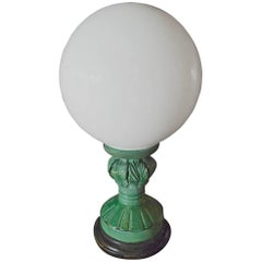 Spanish 1960s Green Glaze Mansies Ceramic Table Lamp with Milk White Shade