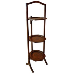 English 19th Century Three-Plate Stained Walnut Collapsible Cake Stand