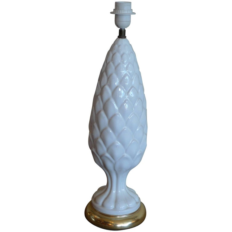 Spanish 1960s White Glazed Mansies 'Valencia' Ceramic Table Lamp