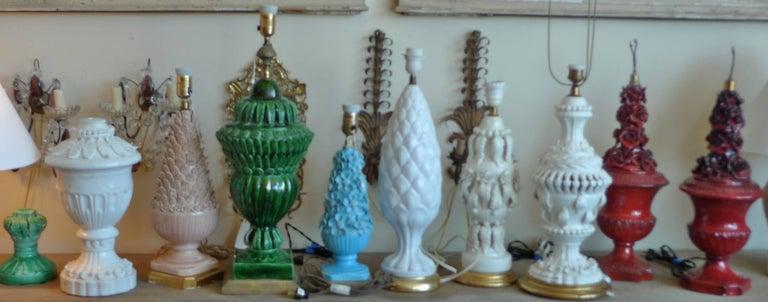 Spanish 1960s White Glazed Mansies 'Valencia' Ceramic Table Lamp For Sale 1