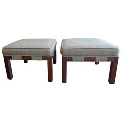 Two French 1960s Stained Walnut Cushioned Stools