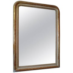French 19th Century Louis Philippe Hand-Carved Gold-Leaf Mirror