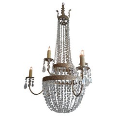 French 19th Century Basket and Crown Crystal and Metal Chandelier