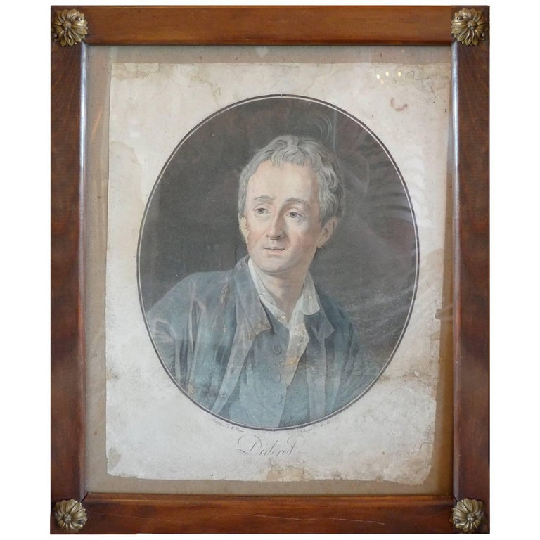 French 18th Century Color Print of Denis Diderot