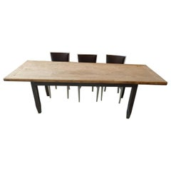 French 19th Century Rustic Pine Country Farmhouse Table on Four Standard Legs