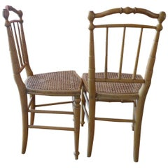 Two French 19th Century Bamboo and Cane Side Chairs