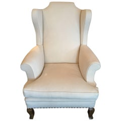 French 19th Century Wingback Armchair Reupholstered in Belgian Linen