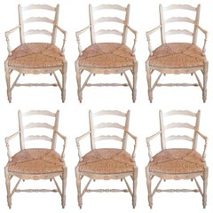 Set of Six French 19th Century Painted Provencal Armchairs with Rush Seats