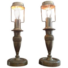 Two French 19th Century Converted Brass Table Lamps
