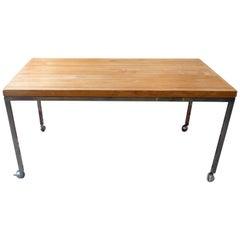 American 1970s Butcher's Block Kitchen Table on Polished Chrome Legs and Wheels