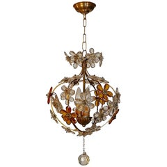 Italian 1940s Chandelier, Three Cluster Light with Amber and Clear Glass Flowers