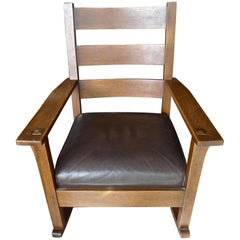 American Lifetime Furniture Arts & Crafts Mission Rocking Chair and Seat Cushion
