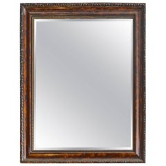 French Mid-20th Century Hand-Craved Walnut and Mahogany Framed Mirror