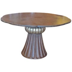 French 19th Century Stained Hand-Carved Maplewood Pedestal Breakfast Table