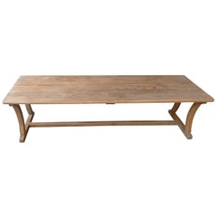 French Long Mid-20th Century Pinewood Trestle Coffee Table