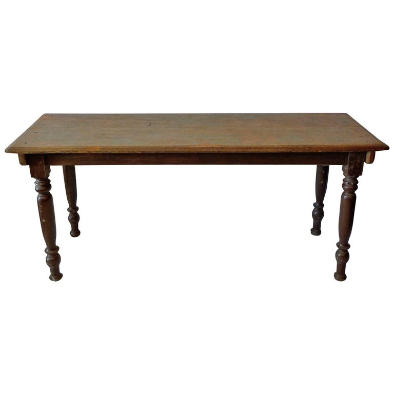 French 19th Century Painted Pinewood Picnic Table with Hand-Carved Legs