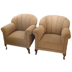 Two French 1940s Rolled Club Armchairs, Sold as Is, Needs to Be Reupholstered