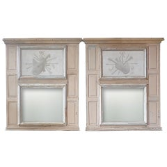 Two French 19th Century Painted Trumeau Mirrors with Original Mirror Glass