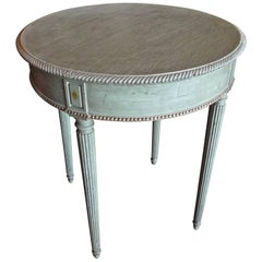 French 19th Century Round Green Painted Nightstand