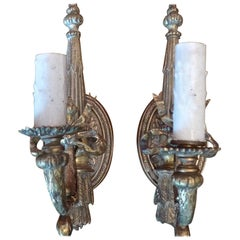 Two French Small Bronze Single Light Sconces, 19th Century