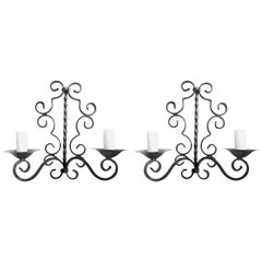2 French 1960s Hand-Painted Wrought Iron Wall Sconces