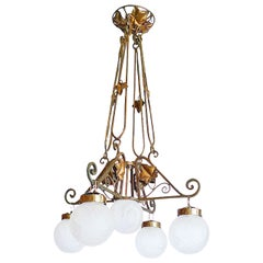 French 1920s Bronze Chandelier with Five Lights Covered by Etched Glass Globes
