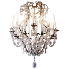 English 18th Century Twelve Light Crystal Chandelier