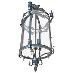 French 1940s Silver Plated Circular Lantern with 4 Centre Lights and Glass Sides