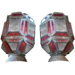 2 French 1930s Tin and Clear and Stained Glass Sconces with a Single Light